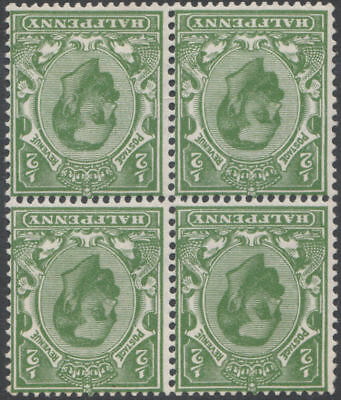 1912 DOWNEY HEAD SG325wi 1/2d BRIGHT GREEN WMK INVERTED UNMOUNTED BLOCK OF 4