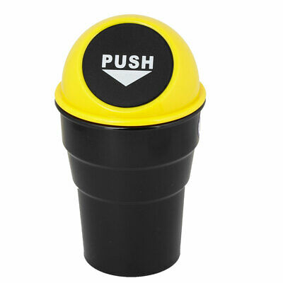 Yellow Black Plastic Body Car Rubbish Holder Can Storage 16.5cm Height
