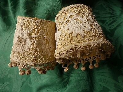 Antique Pair Of French Hand Worked Lace And Silk Lightshades