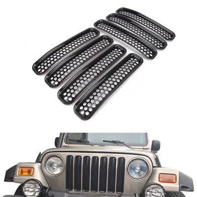 7Pcs Front Grill Mesh Grilles Inserts Guard Cover For 1997-2006 Jeep Wrangler TJ
