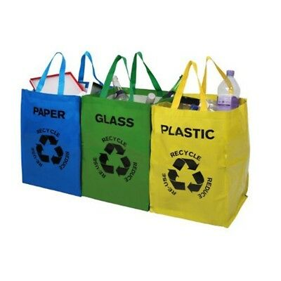 Premier Housewares Recycle Bags - Set Of 3, Multi-coloured - 3 Multicoloured
