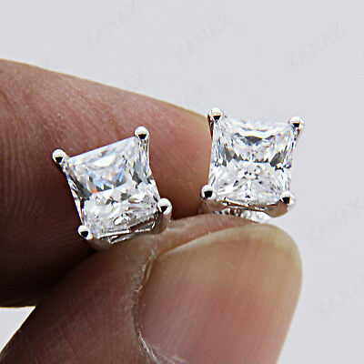 1 CT Diamond Princess Cut Real 14k White Gold Solitaire Earrings for Women's
