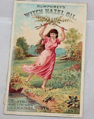 Vintage Early VIctorian 1800's Trade Card Humphrey's WItch Hazel Oil Lady River