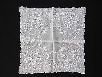 """Vintage 1920's-1940's White Cotton Hand Full Embroidered Handkerchief 11"""" X 11"""""""