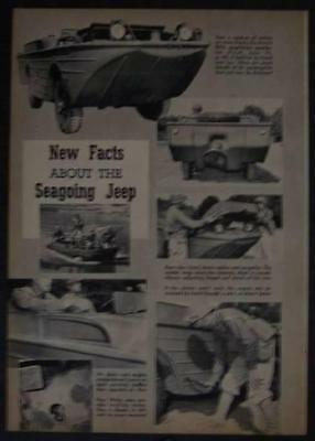 GPA Ford WWII WW2 Army Amphibious Utility vehicle 1944 SEEP original pictorial