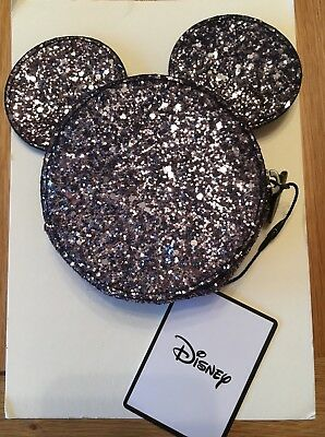 New Disney Mickey Minnie Mouse Purse Jewellery Make-Up Bag Bnwt Glitter Sparkle