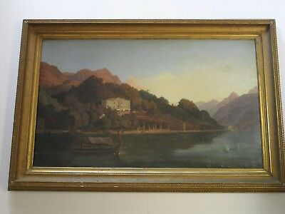 Antique 19Th Century Italian Landscape Historic Large Sofa  Estate Size As Is