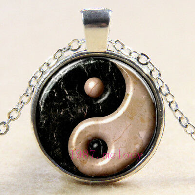 Vintage Cabochon Glass Necklace Silver Charm pendants(ancient yin yang