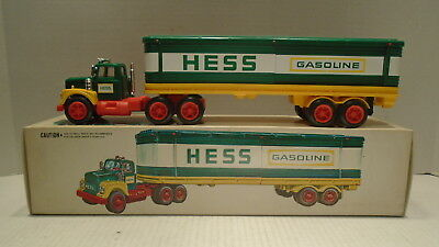 1975 Hess Toy Tractor Truck With 3 Barrels Working Lights and Box