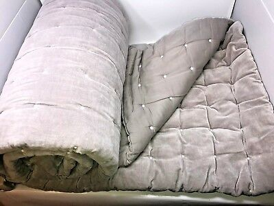 Restoration Hardware Baby & Child - Gray Grey Velvet Box Tufted Quilt Twin-Queen