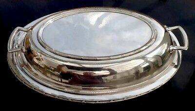 ANTIQUE SILVER PLATE TUREEN DISH ENTREE English With Separate Drainer VGC