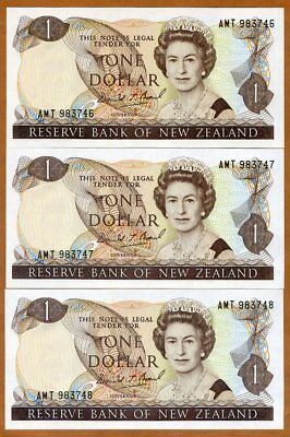 SET New Zealand, 3 x $1, Consecutive Trio,  ND (1989-1992), P-169c, QEII, UNC