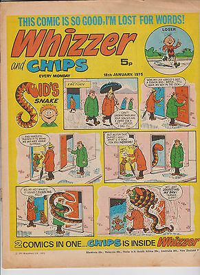 Whizzer and Chips Vintage Old UK Paper COMIC 18 January 1975 Birthday Gift