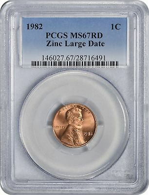 1982 Lincoln Cent Zinc Large Date MS67RD PCGS