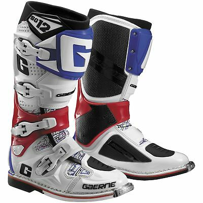 Gaerne SG-12 MX Offroad Boots White/Red/Blue 9 USA