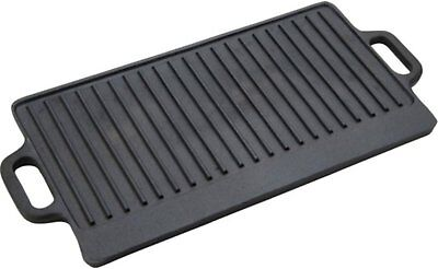 """Rectangular Double Griddle Mexican Style Rectangle Heavy Cast Iron 20""""x9"""""""