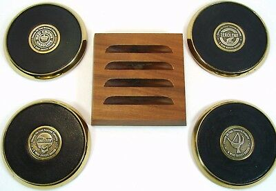 CHEVRON Set of 4 1988 Heavy Brass Coasters Safety Awards Red Crown Gasoline