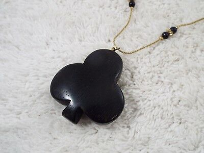 Goldtone Black Bead Ebony Wood Spade Pendant Necklace (C39)