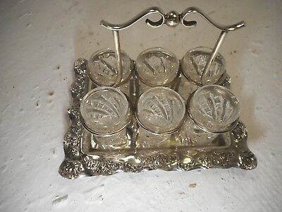 set of 6 Glasses in Sliver Plate Stand   ref 4232