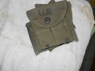 WW2 US GI M-1 carbine canvas 2 pocket ammo pouch RAINIER-BELL mfr good shape