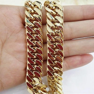 "7-40""Stainless Steel 10mm Yellow Gold Plated Cuban Curb Chain Men Women Necklace"