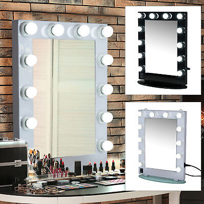 Make-up Mirror 12 LED Light Tabletop Dimmable Illuminated Bulb
