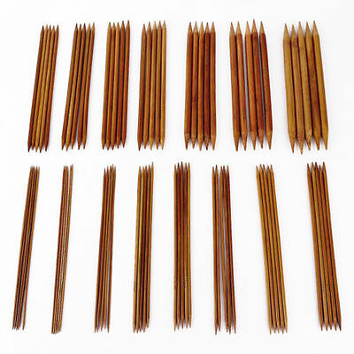 "75pcs 15size 7.9"" 20cm Double Pointed Carbonized Bamboo Knitting Needles Crochet"