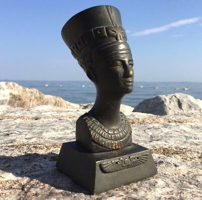 1920s EGYPTIAN Revival Heavy BRONZE FIGURE Metal Bust NEFERTITI Egypt Tomb HEAD