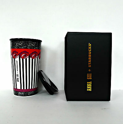 NIB 2016 Starbucks Designer Collection Anna Sui Roses Tumbler Mug Rose Stripe