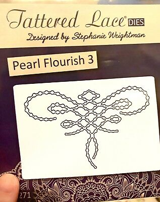 Tattered Lace Die Pearl Flourish 1 Lacy Lacey Beaded Beads Pearls NEW Scrapbook