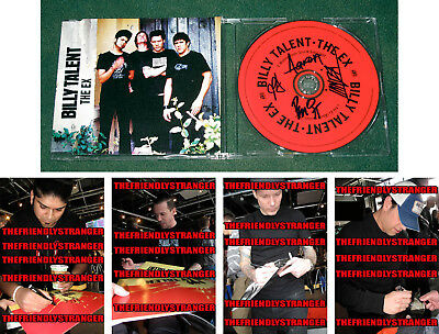 """Rare BILLY TALENT All 4 signed """"THE EX"""" CD SINGLE - PROOF - Ben Kowalewicz COA"""