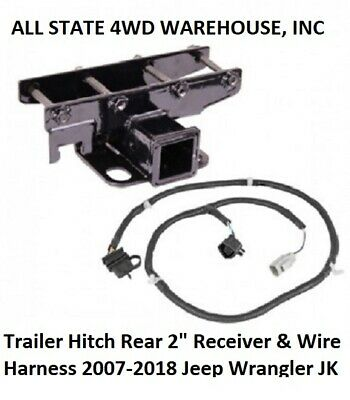 """Trailer Hitch Rear 2"""" Receiver With Wire Harness Fits 2007-2018 Jeep Wrangler JK"""