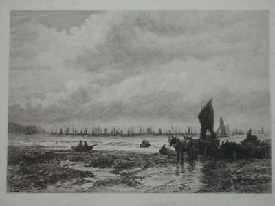 Fishing Boats off Whitby Yorkshire Landschaft Nordsee David Law Radierung 1881