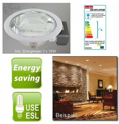 Downlight Ceiling Lamp Recessed Installation incl. 2x15W E27 Round