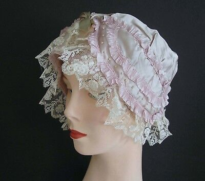 FABULOUS Vintage Lady's Boudoir Cap Lilac Purple Silk w/ Lace Trim Original Tag