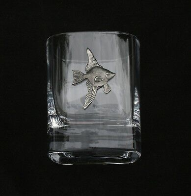 Angelfish Pair of Crystal Tumblers Pewter Motif Presentation Box Fish Gift