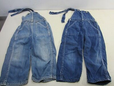 2 Vintage Pairs of Child's Flat Back Denim Overalls/Bibs