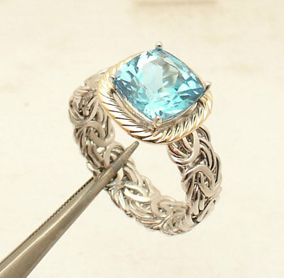 Sz 8 Natural Blue Topaz Gemstone Byzantine Ring 14K Yellow Gold Sterling Silver