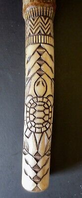 Smaller Chief's head, incised Turtle carved Talking Stick Erik Sappier Penobscot