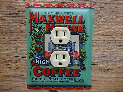 Vintage Maxwell House Coffee Tin Can Outlet Cover Kitchen Lighting Decor Tins