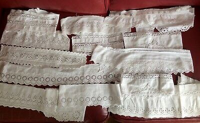 Quantity of Vintage & Antique Broderie Anglaise Lace Remnants Edgings