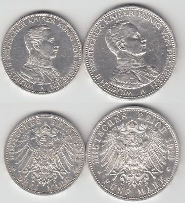 Preussen,  Wilhelm II  1888-1918  Gedenkmünzen  3 + 5 Mark   Kaiser in Uniform