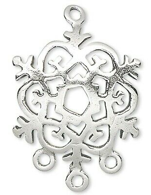 1 Sterling Silver Snowflake Connector Drop / 18x17mm