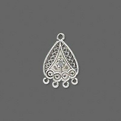 1 Sterling Silver Filigree Earring Link Connector Drop / 16x13mm  *