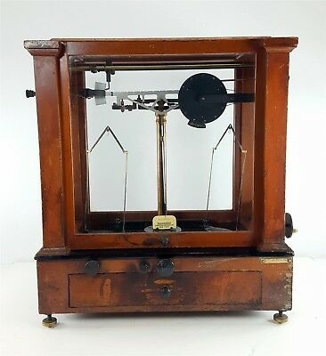 Antique Christian Becker Chainomatic Analytical Balance Scale Wood Glass Cabinet