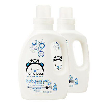 2 Bottles Mama Bear 95% Biobased Baby Gentle Laundry Detergent, 40 Fl Oz. Each.