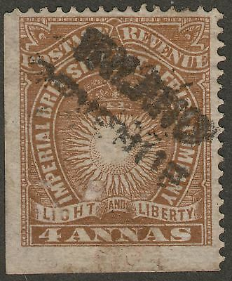 British East Africa 1891 QV Inland Revenue Diagonal Overprint 4a Yl-Brown Unused