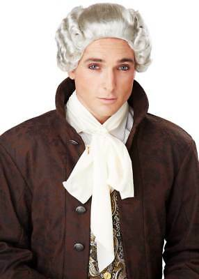 18th Century Colonial Peruke Gentleman's Powdered Curly Wig With Ribbon Tie Mens