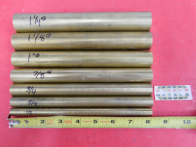 "7 Pieces 1/2"",5/8"",3/4"",7/8"",1"",1-1/8"",1-1/4"" C360 BRASS ROUND 8"" long Bar Stock"