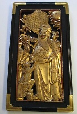 Vintage Antique Chinese Scholar Wood Carving Gold Tone  Wood Sculpture Statue
